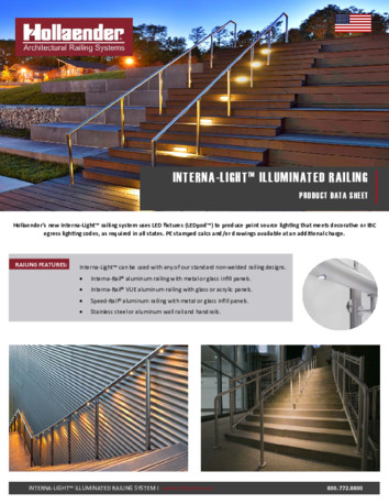 Interna-Light™ Illuminated Railing Product Data Sheet