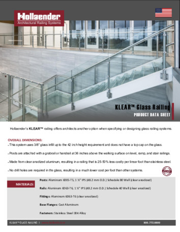 Interna-Rail® KLEAR Glass Railing Product Data Sheet