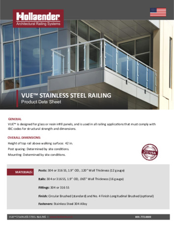 VUE Stainless Steel Product Data Sheet