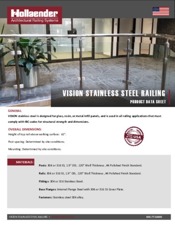 VISION™ Stainless Steel Railing Product Data